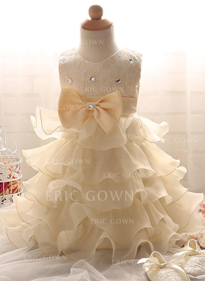 A-Line/Princess Scoop Neck Floor-length Satin Tulle Christening Gowns With Beading (2001217998)