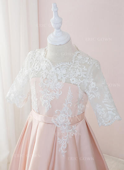 Ball-Gown/Princess Floor-length Flower Girl Dress - Satin/Lace 1/2 Sleeves Scoop Neck (010195361)