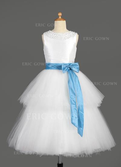 Gorgeous Scoop Neck A-Line/Princess Flower Girl Dresses Tea-length Taffeta/Tulle Sleeveless (010014650)