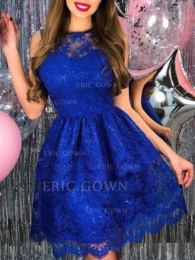 A-Line/Princess Scoop Neck Short/Mini Homecoming Dresses With Appliques (022219407)