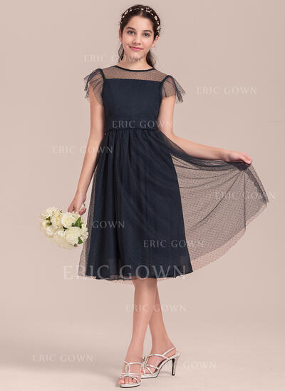 A-Line/Princess Knee-length Flower Girl Dress - Tulle Short Sleeves Scoop Neck (010144541)