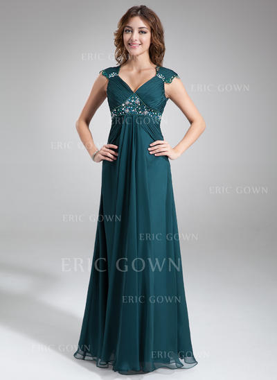 A-Line/Princess Chiffon Sleeveless V-neck Floor-Length Zipper Up Mother of the Bride Dresses (008211023)