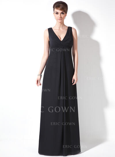 A-Line/Princess V-neck Floor-Length Chiffon Mother of the Bride Dress With Ruffle (008021081)