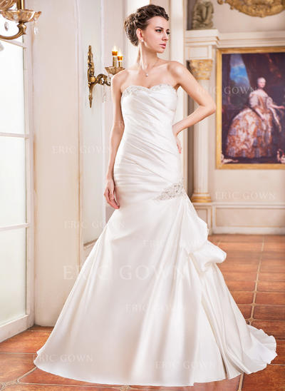 Trumpet/Mermaid Sweetheart Court Train Wedding Dresses With Ruffle Lace Beading Sequins (002210503)