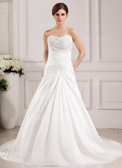 A-Line/Princess Sweetheart Chapel Train Wedding Dresses With Ruffle Lace Beading (002000468)