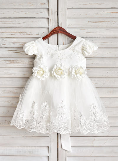 A-Line/Princess Knee-length Flower Girl Dress - Satin/Tulle/Lace Short Sleeves Scoop Neck With Sash/Flower(s) (010091890)