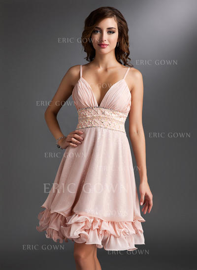 A-Line/Princess V-neck Knee-Length Chiffon Homecoming Dress With Ruffle Beading Sequins (022021031)