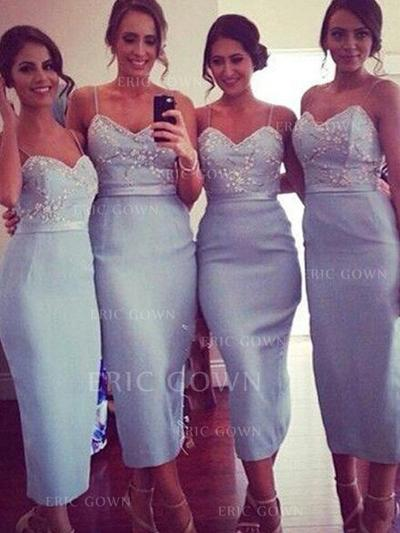 Sheath/Column Sweetheart Tea-Length Bridesmaid Dresses With Lace (007145004)
