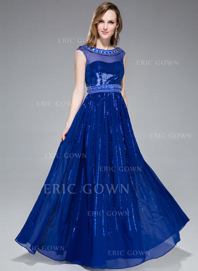 A-Line/Princess Chiffon Sequined Prom Dresses Beading Scoop Neck Sleeveless Floor-Length (018046237)