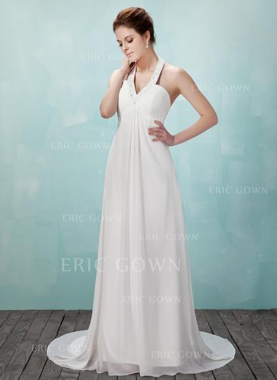 Modern Halter Empire Wedding Dresses Court Train Chiffon Sleeveless (002196848)