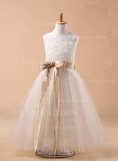 Ball Gown Scoop Neck Ankle-length With Sash/Bow(s) Tulle Flower Girl Dresses (010211759)