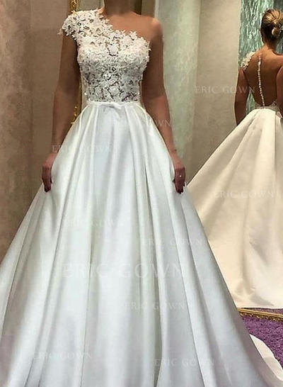 A-Line/Princess One Shoulder Sweep Train Wedding Dresses With Lace (002218041)