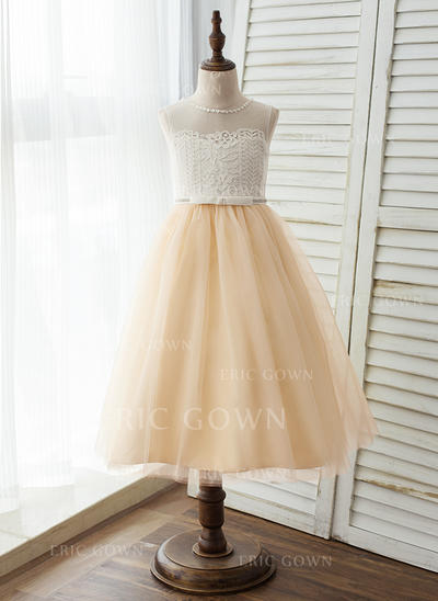 A-Line/Princess Tea-length Flower Girl Dress - Tulle/Lace Sleeveless Scoop Neck With Lace (010125820)
