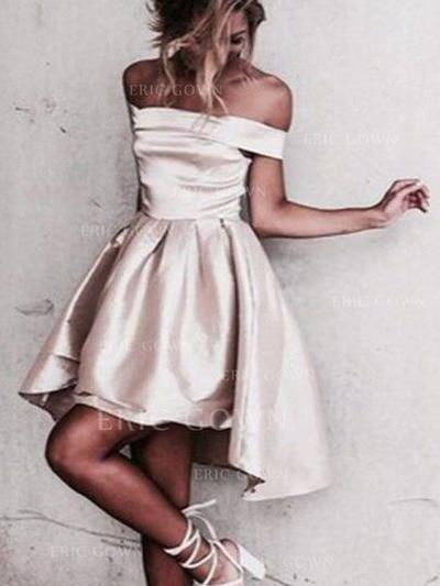 A-Line/Princess Off-the-Shoulder Asymmetrical Satin Cocktail Dresses With Ruffle (016145267)