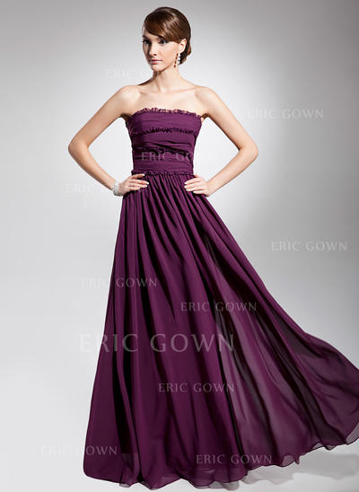 A-Line/Princess Strapless Floor-Length Evening Dresses With Ruffle (017014692)