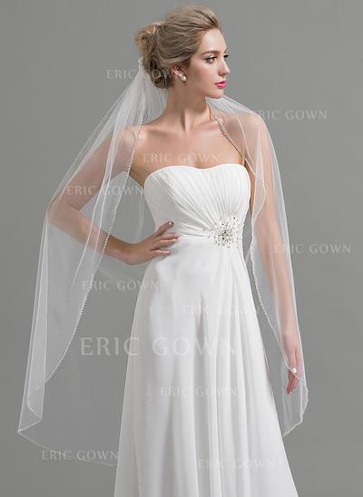 Waltz Bridal Veils Tulle One-tier Oval With Beaded Edge Wedding Veils (006151936)
