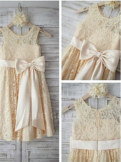 A-Line/Princess Scoop Neck Tea-length With Sash/Bow(s) Lace Flower Girl Dresses (010211846)