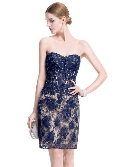 Sheath/Column Sweetheart Short/Mini Cocktail Dresses With Beading (016076156)
