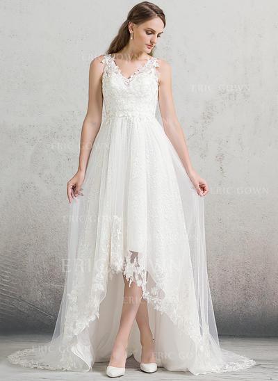 A-Line/Princess V-neck Asymmetrical Tulle Lace Wedding Dress (002088473)