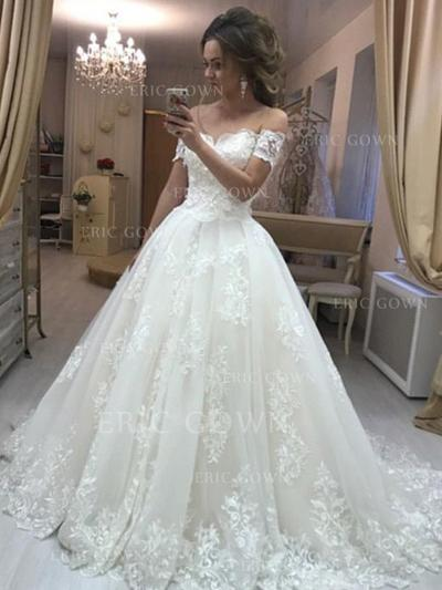 Ball-Gown Off-The-Shoulder Sweep Train Wedding Dresses With Appliques Lace (002218046)