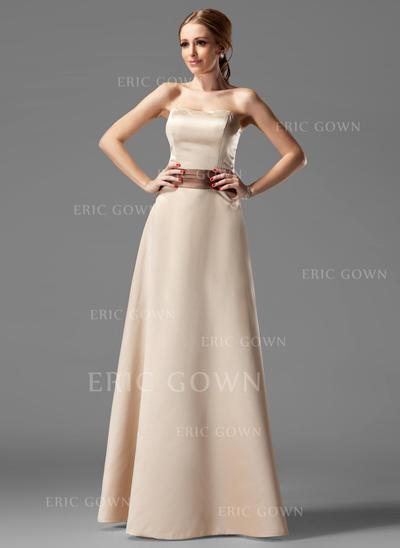 A-Line/Princess Satin Bridesmaid Dresses Sash Strapless Sleeveless Floor-Length (007004115)