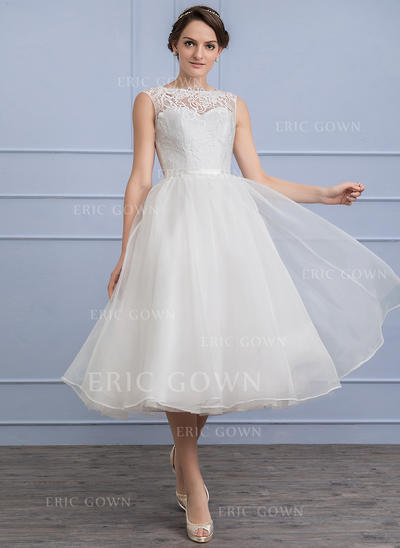 A-Line/Princess Scoop Neck Tea-Length Organza Lace Wedding Dress (002107853)