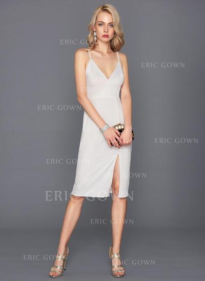 Sheath/Column V-neck Knee-Length Jersey Cocktail Dress With Split Front (016124580)
