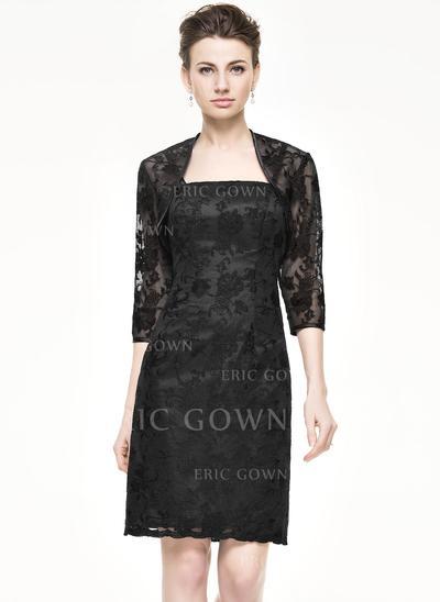 Sheath/Column Lace Sleeveless Knee-Length Zipper Up Mother of the Bride Dresses (008062541)