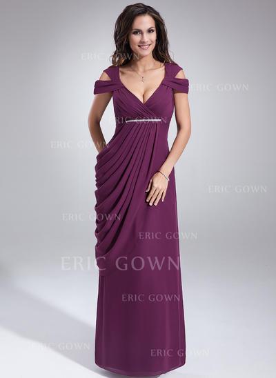 Sheath/Column Chiffon Sleeveless V-neck Floor-Length Zipper Up Mother of the Bride Dresses (008211089)