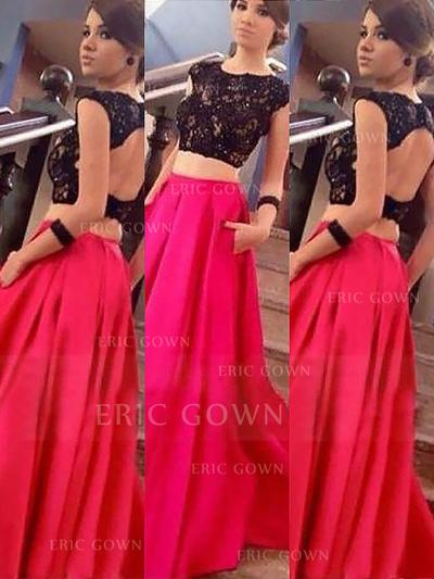 A-Line/Princess Scoop Neck Floor-Length Prom Dresses With Lace (018217316)