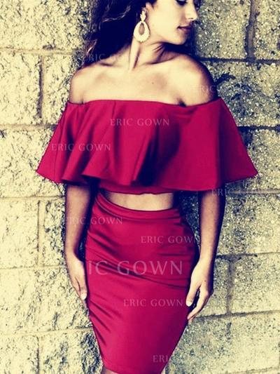 Sheath/Column Off-the-Shoulder Short/Mini Cocktail Dresses With Ruffle (016218412)