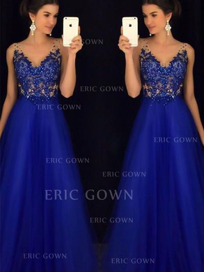 A-Line/Princess V-neck Floor-Length Tulle Evening Dresses With Lace Beading Appliques Lace (017217834)