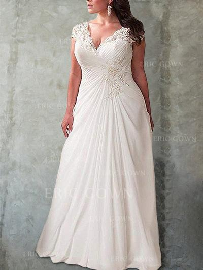 Empire V-neck Sweep Train Wedding Dresses With Ruffle Lace (002218624)