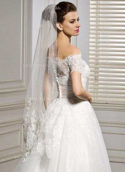 Fingertip Bridal Veils Tulle One-tier Classic With Lace Applique Edge Wedding Veils (006151814)