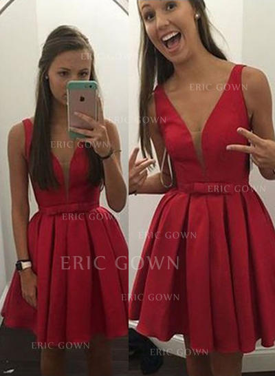 A-Line/Princess V-neck Short/Mini Satin Homecoming Dresses With Bow(s) (022212330)