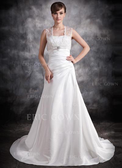A-Line/Princess Sweetheart Court Train Wedding Dresses With Ruffle Beading (002211256)