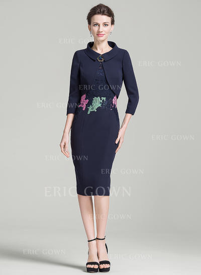 Sheath/Column Short Sleeves Scoop Neck Knee-Length Zipper Up Mother of the Bride Dresses (008080195)