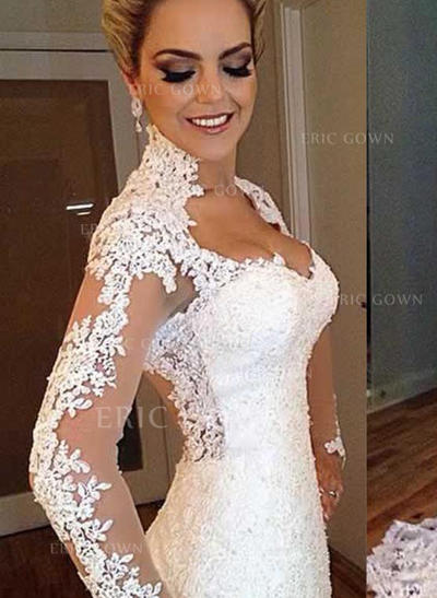 Trumpet/Mermaid Lace Long Sleeves V-neck Sweep Train Wedding Dresses (002147924)