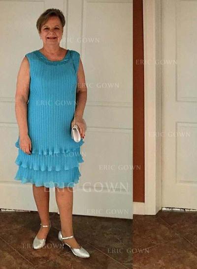 A-Line/Princess Chiffon Sleeveless Scoop Neck Knee-Length Zipper Up Mother of the Bride Dresses (008212801)