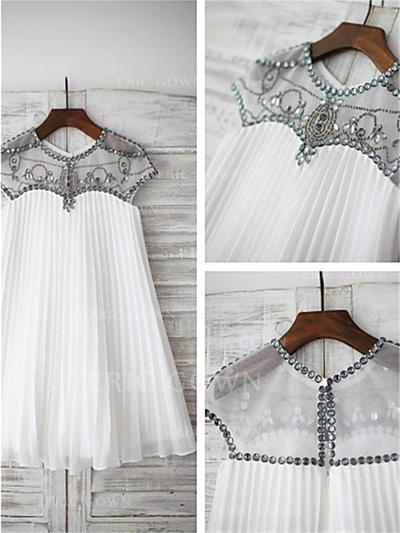 A-Line/Princess Scoop Neck Knee-length With Beading/Appliques Tulle Flower Girl Dresses (010211850)