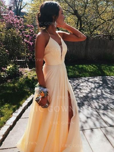 A-Line/Princess V-neck Floor-Length Prom Dresses With Ruffle Split Front (018219241)