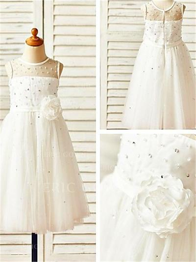 A-Line/Princess Scoop Neck Tea-length With Beading/Flower(s) Tulle Flower Girl Dresses (010211903)
