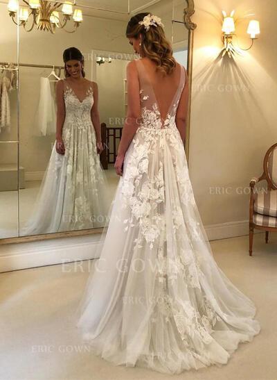 A-Line/Princess V-neck Sweep Train Wedding Dresses With Appliques Lace (002218050)