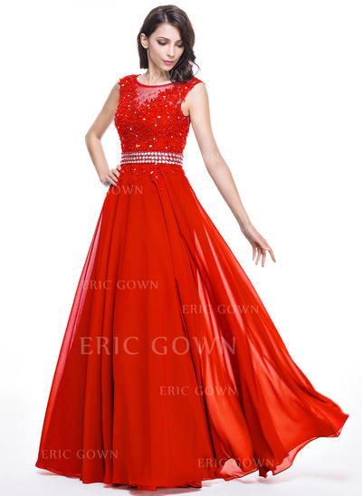 A-Line/Princess Scoop Neck Floor-Length Evening Dresses With Beading Appliques Lace Sequins (017201693)