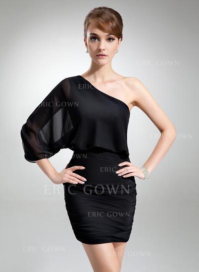 Sheath/Column One-Shoulder Short/Mini Chiffon Cocktail Dresses With Ruffle (016021254)