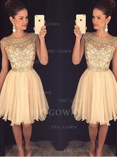 A-Line/Princess Scoop Neck Knee-Length Tulle Homecoming Dresses With Sequins (022212338)