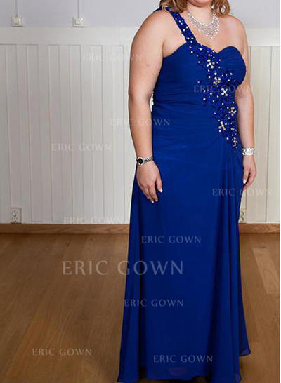 A-Line/Princess Chiffon Sleeveless One-Shoulder Floor-Length Zipper Up Mother of the Bride Dresses (008212753)