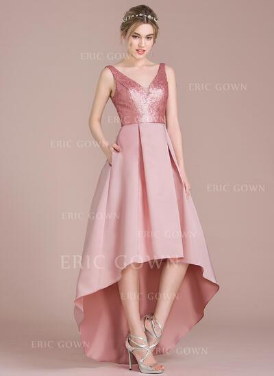 A-Line V-neck Asymmetrical Satin Sequined Bridesmaid Dress (007104722)