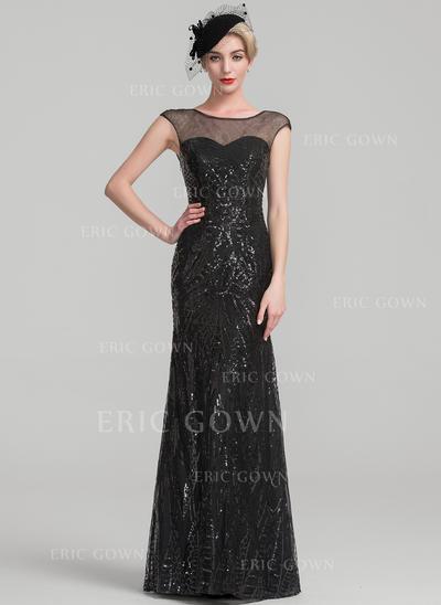 Trumpet/Mermaid Sequined Sleeveless Scoop Neck Floor-Length Zipper Up Mother of the Bride Dresses (008107671)