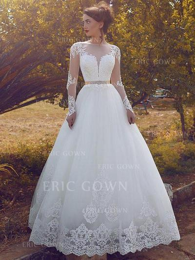 Ball-Gown Scoop Floor-Length Wedding Dresses With Lace Sash Crystal Brooch (002217948)